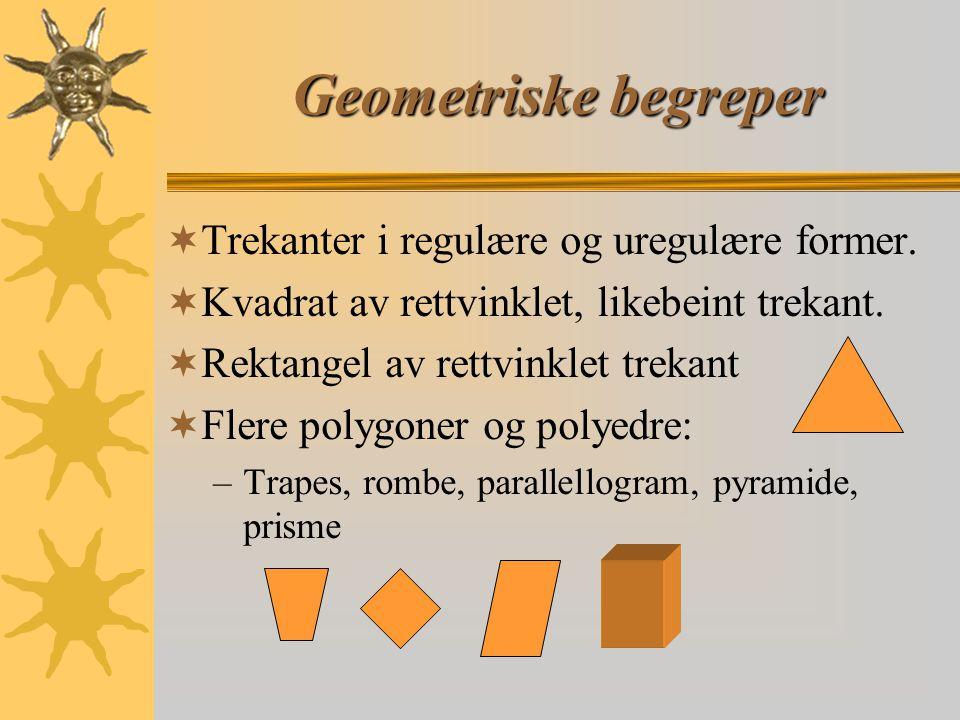 Geometriske begreper  Trekanter i regulære og uregulære former.  Kvadrat av rettvinklet, likebeint trekant.  Rektangel av rettvinklet trekant  Fle