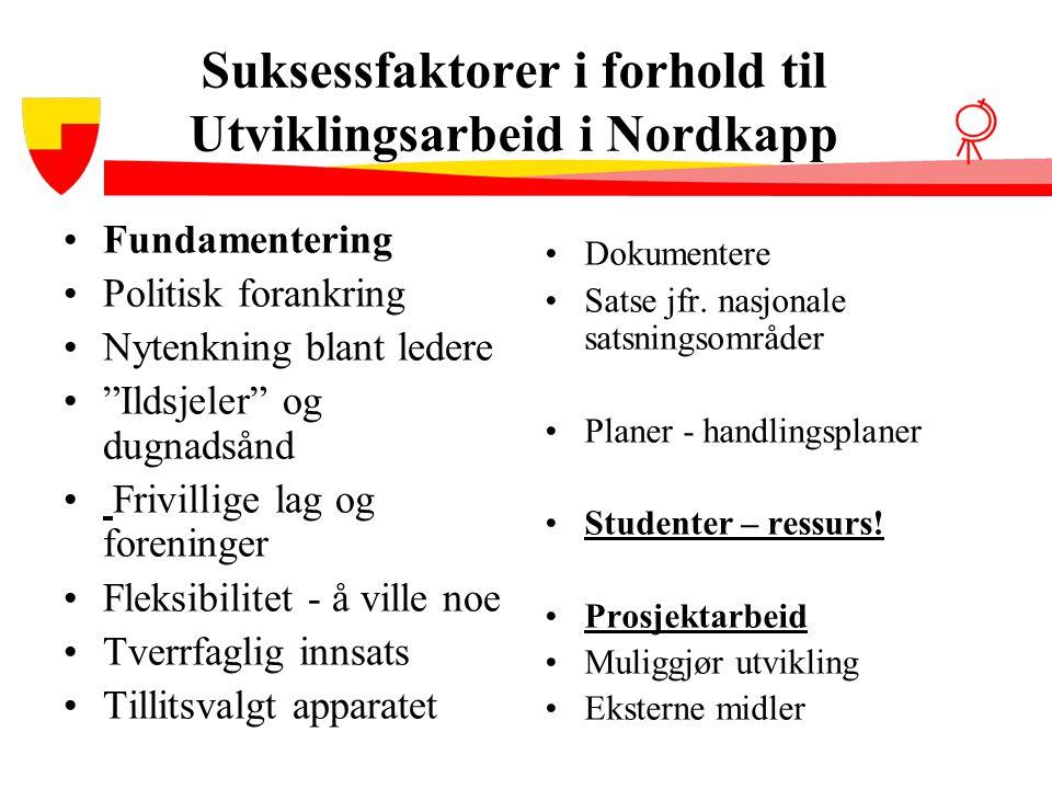 """Suksessfaktorer i forhold til Utviklingsarbeid i Nordkapp •Fundamentering •Politisk forankring •Nytenkning blant ledere •""""Ildsjeler"""" og dugnadsånd • F"""