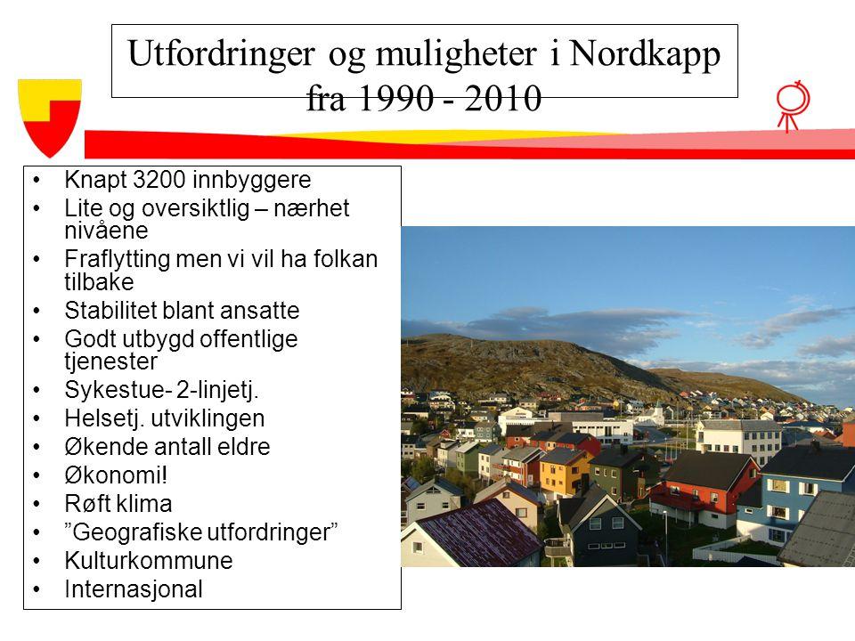 Utfordringer og muligheter i Nordkapp fra 1990 - 2010 •Knapt 3200 innbyggere •Lite og oversiktlig – nærhet nivåene •Fraflytting men vi vil ha folkan t