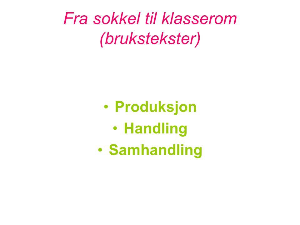 Fra sokkel til klasserom (brukstekster) •Produksjon •Handling •Samhandling