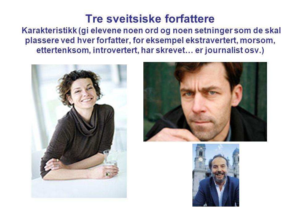 Tre sveitsiske forfattere Karakteristikk (gi elevene noen ord og noen setninger som de skal plassere ved hver forfatter, for eksempel ekstravertert, m