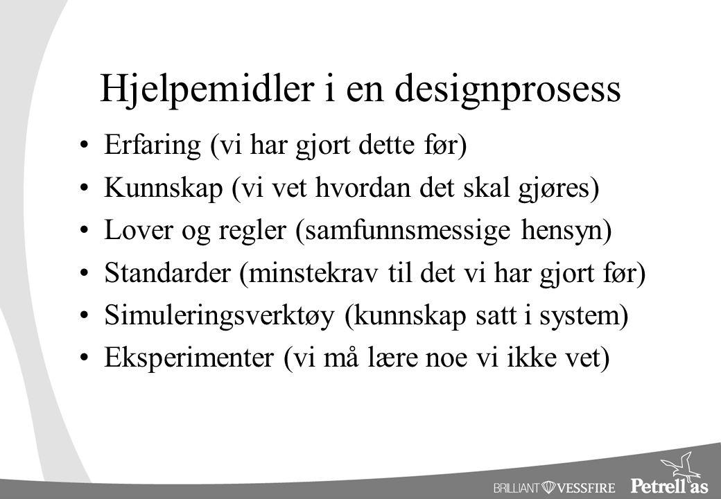 Hjelpemidler i en designprosess •Erfaring (vi har gjort dette før) •Kunnskap (vi vet hvordan det skal gjøres) •Lover og regler (samfunnsmessige hensyn