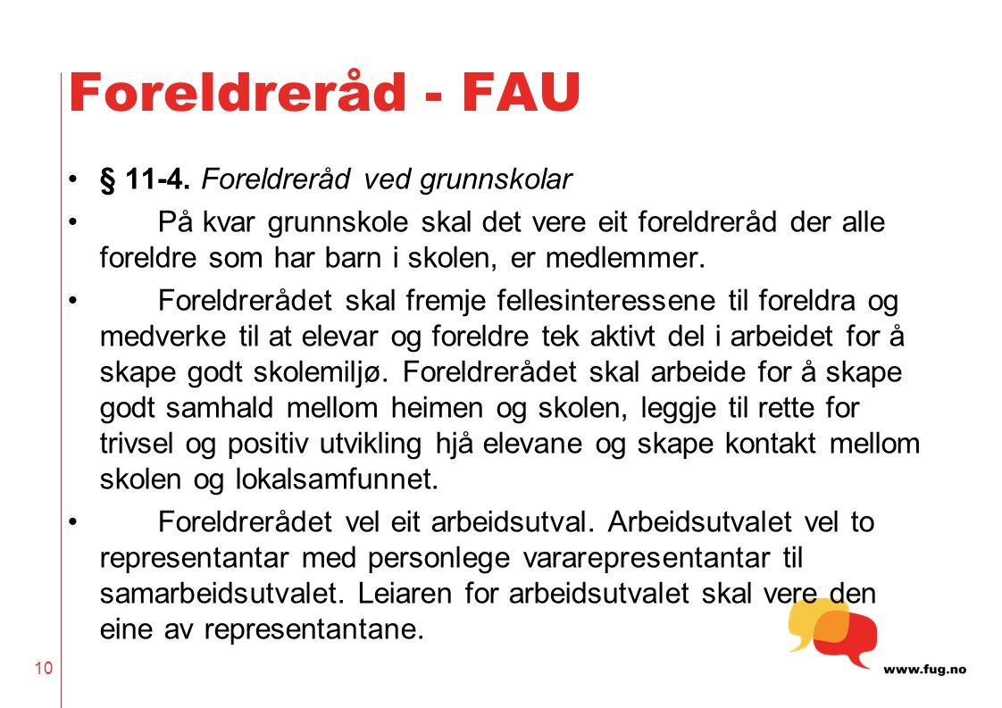 10 Foreldreråd - FAU •§ 11-4.
