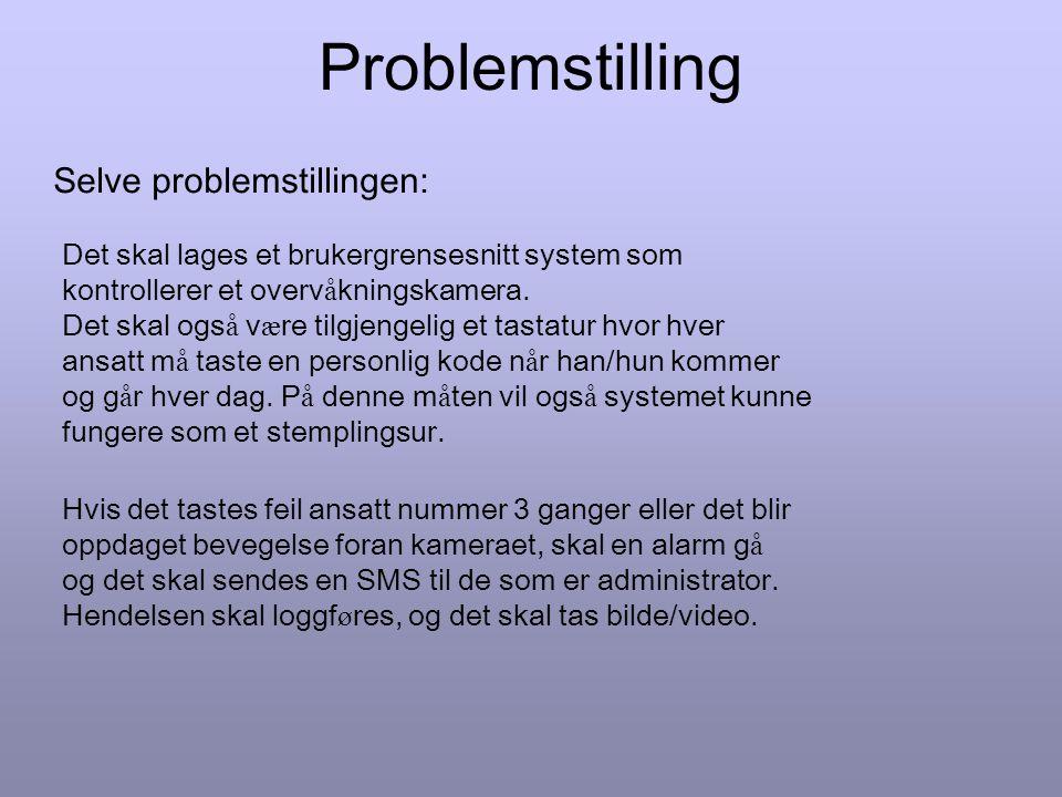 Problemstilling Bakgrunn for problemstilling: Dagens overv å knings system hos AvansIT best å r av en loggbok hvor hver person som kommer f ø rst/sist