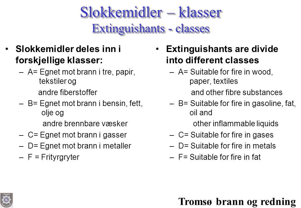 Tromsø brann og redning Slokkemidler – klasser Extinguishants - classes •Slokkemidler deles inn i forskjellige klasser: –A= Egnet mot brann i tre, pap