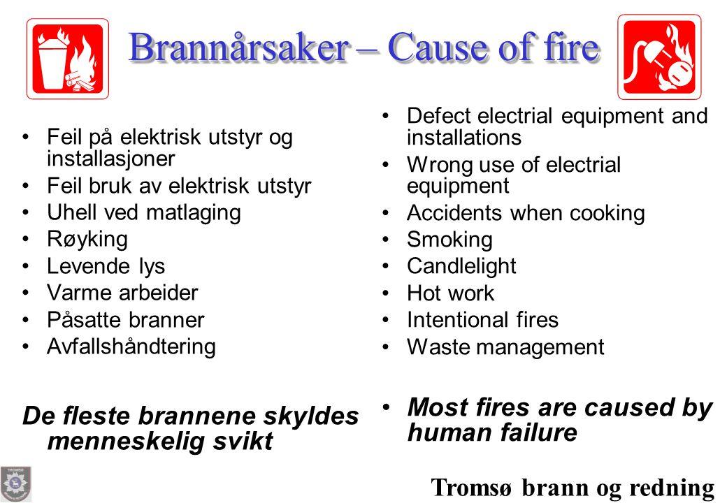 Tromsø brann og redning Brannårsaker – Cause of fire •Feil på elektrisk utstyr og installasjoner •Feil bruk av elektrisk utstyr •Uhell ved matlaging •