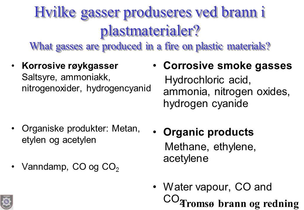 Tromsø brann og redning Hvilke gasser produseres ved brann i plastmaterialer? What gasses are produced in a fire on plastic materials? •Korrosive røyk