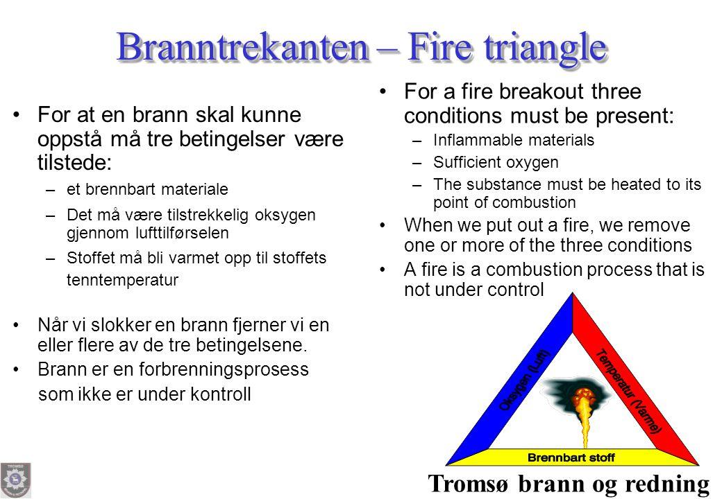 Tromsø brann og redning Branntrekanten – Fire triangle •For at en brann skal kunne oppstå må tre betingelser være tilstede: h –et brennbart materiale
