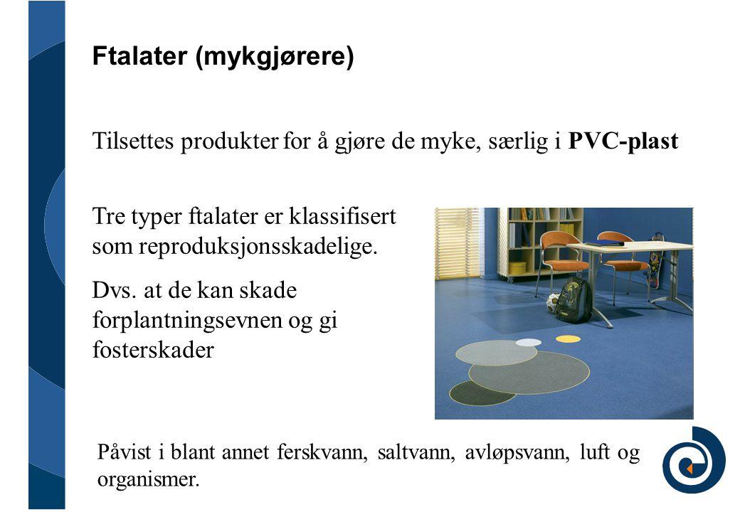 Ftalater (mykgjørere) Tilsettes produkter for å gjøre de myke, særlig i PVC-plast Tre typer ftalater er klassifisert som reproduksjonsskadelige. Dvs.
