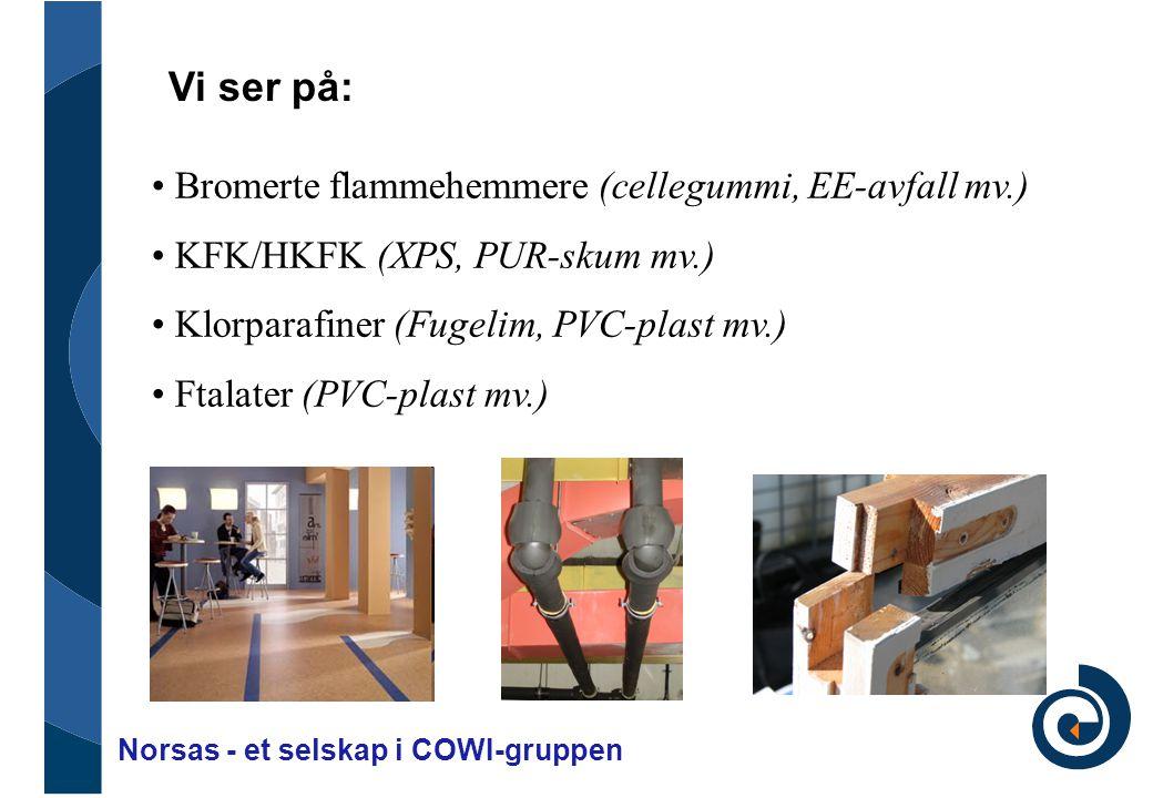 Brommerte flammehemmere • Cellegummi • EE-avfall • Tunellmatter • EPS/XPS.