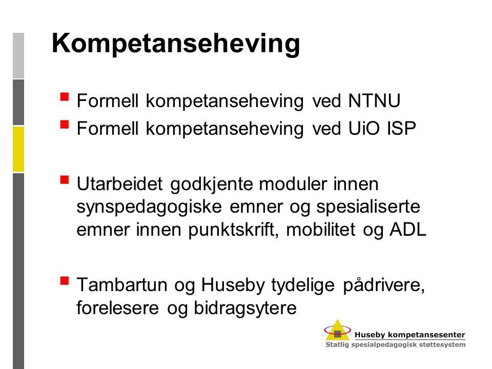 Kompetanseheving  Formell kompetanseheving ved NTNU  Formell kompetanseheving ved UiO ISP  Utarbeidet godkjente moduler innen synspedagogiske emner