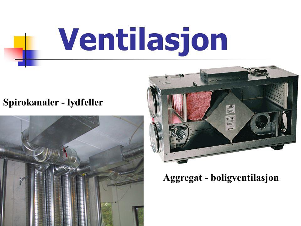 Ventilasjon Aggregat - boligventilasjon Spirokanaler - lydfeller