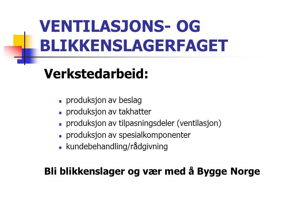 VENTILASJONS- OG BLIKKENSLAGERFAGET Verkstedarbeid:  produksjon av beslag  produksjon av takhatter  produksjon av tilpasningsdeler (ventilasjon) 