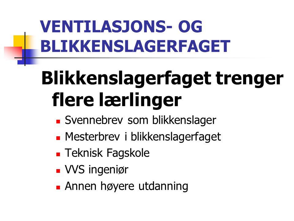 VENTILASJONS- OG BLIKKENSLAGERFAGET Blikkenslagerfaget trenger flere lærlinger  Svennebrev som blikkenslager  Mesterbrev i blikkenslagerfaget  Tekn