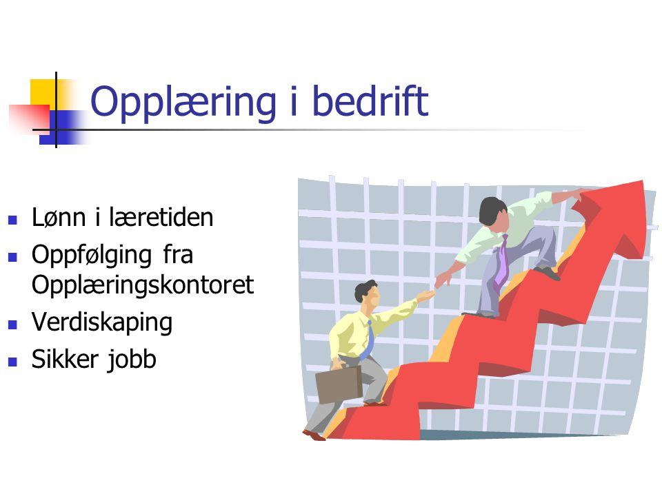 Opplæring i bedrift  Lønn i læretiden  Oppfølging fra Opplæringskontoret  Verdiskaping  Sikker jobb