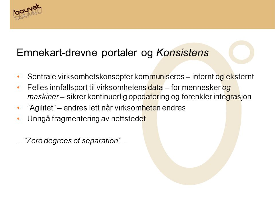 Emnekart-drevne portaler og Konsistens •Sentrale virksomhetskonsepter kommuniseres – internt og eksternt •Felles innfallsport til virksomhetens data –