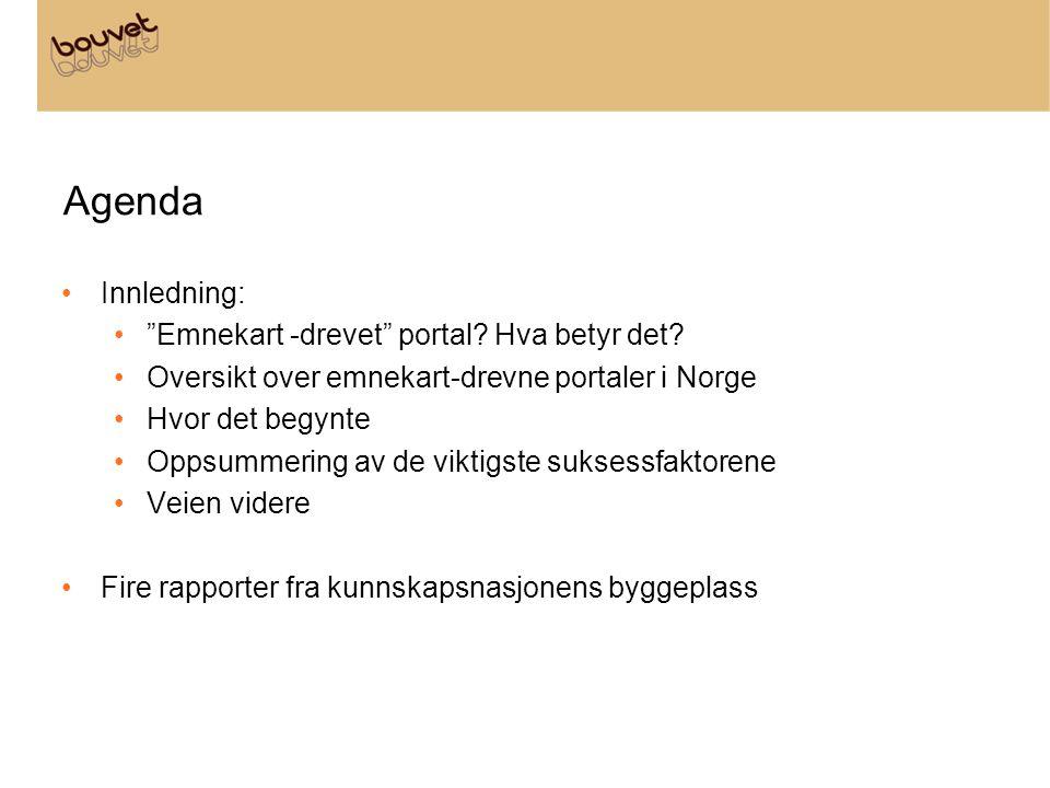 """Agenda •Innledning: •""""Emnekart -drevet"""" portal? Hva betyr det? •Oversikt over emnekart-drevne portaler i Norge •Hvor det begynte •Oppsummering av de v"""
