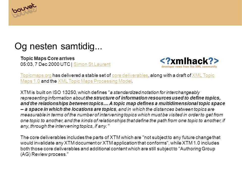 Og nesten samtidig... Topic Maps Core arrives 05:03, 7 Dec 2000 UTC | Simon St.LaurentSimon St.Laurent Topicmaps.orgTopicmaps.org has delivered a stab