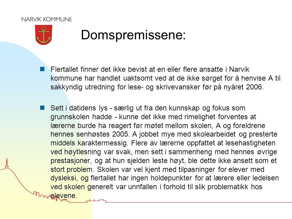 Domspremissene: nFlertallet finner det ikke bevist at en eller flere ansatte i Narvik kommune har handlet uaktsomt ved at de ikke sørget for å henvise A til sakkyndig utredning for lese- og skrivevansker før på nyåret 2006.