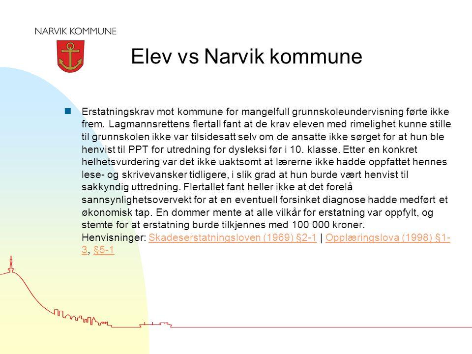 Elev vs Narvik kommune nErstatningskrav mot kommune for mangelfull grunnskoleundervisning førte ikke frem. Lagmannsrettens flertall fant at de krav el