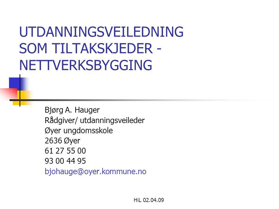 HiL 02.04.09 UTDANNINGSVEILEDNING SOM TILTAKSKJEDER - NETTVERKSBYGGING Bjørg A. Hauger Rådgiver/ utdanningsveileder Øyer ungdomsskole 2636 Øyer 61 27