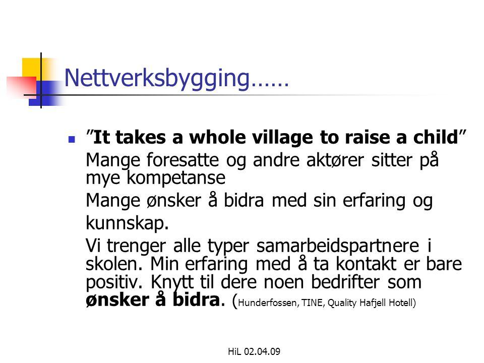 """HiL 02.04.09 Nettverksbygging……  """"It takes a whole village to raise a child"""" Mange foresatte og andre aktører sitter på mye kompetanse Mange ønsker å"""