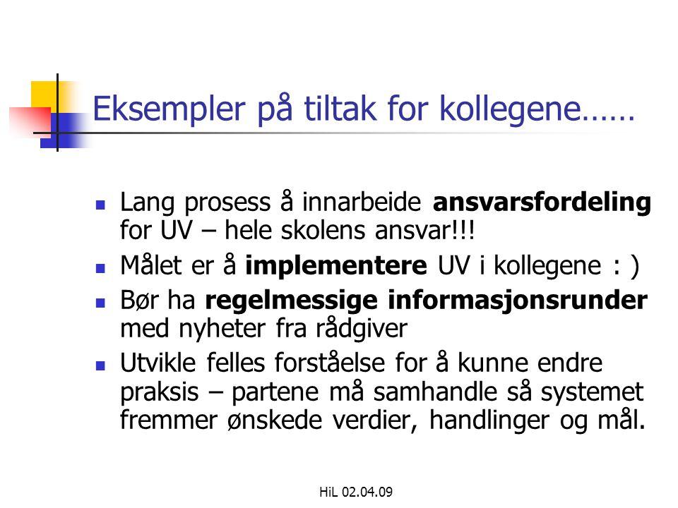 HiL 02.04.09 Eksempler på tiltak for kollegene……  Lang prosess å innarbeide ansvarsfordeling for UV – hele skolens ansvar!!.