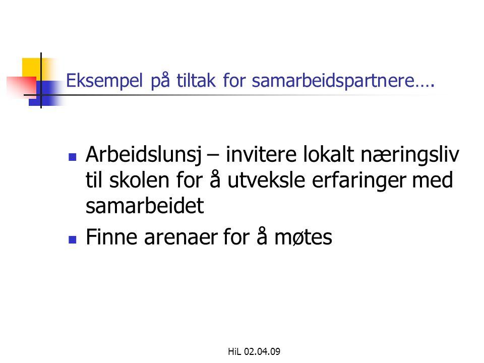 HiL 02.04.09 Eksempel på tiltak for samarbeidspartnere….  Arbeidslunsj – invitere lokalt næringsliv til skolen for å utveksle erfaringer med samarbei