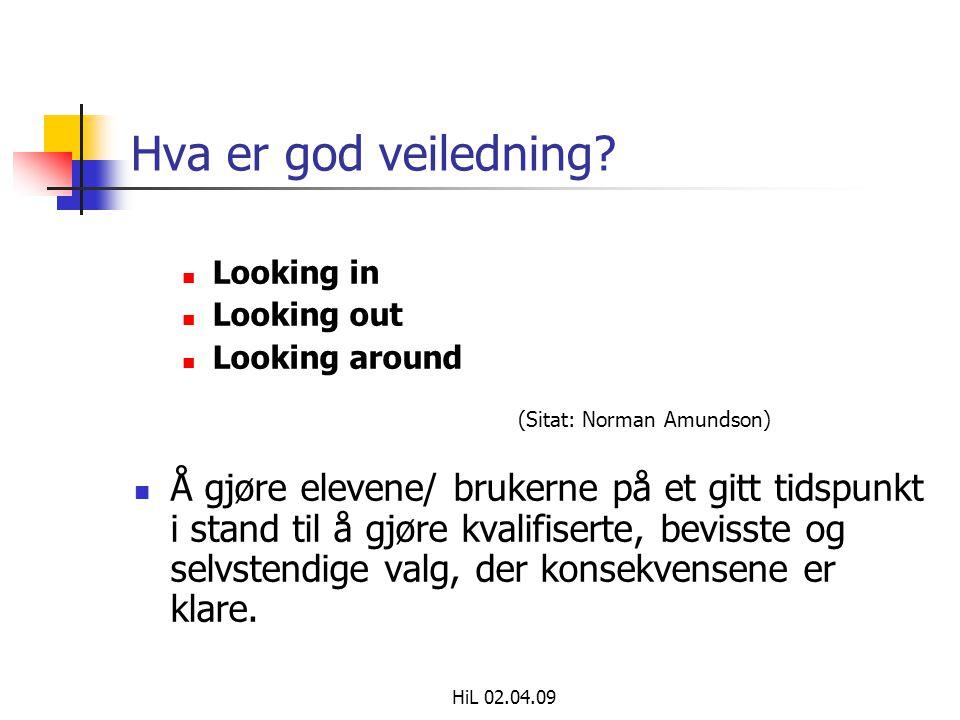 HiL 02.04.09 Hva er god veiledning?  Looking in  Looking out  Looking around (Sitat: Norman Amundson)  Å gjøre elevene/ brukerne på et gitt tidspu