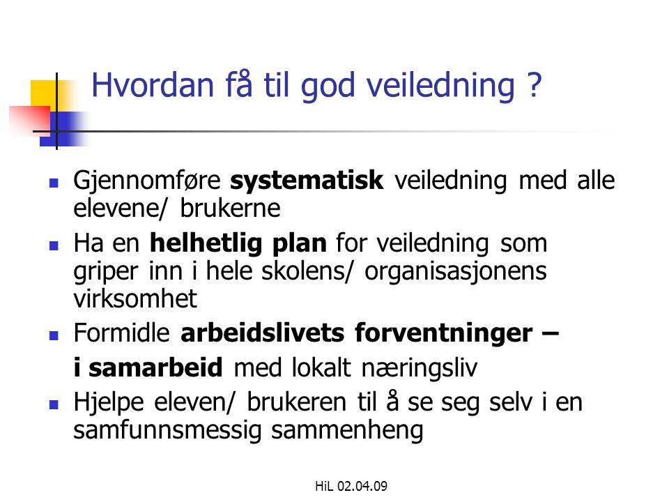 HiL 02.04.09 Hvordan få til god veiledning ?  Gjennomføre systematisk veiledning med alle elevene/ brukerne  Ha en helhetlig plan for veiledning som