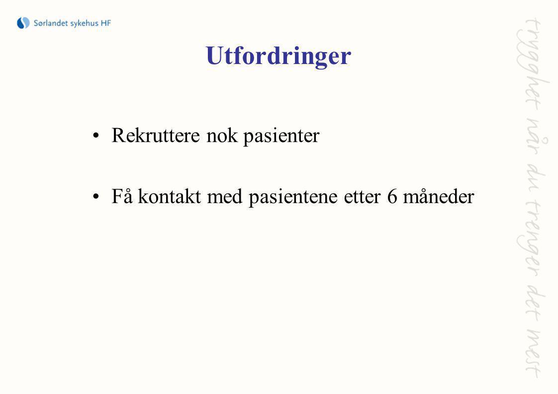 Utfordringer •Rekruttere nok pasienter •Få kontakt med pasientene etter 6 måneder