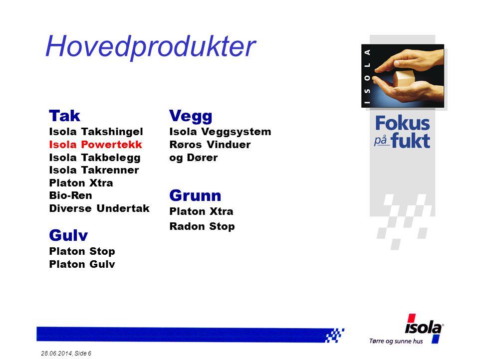 28.06.2014, Side 7 Isola Powertekk Isola Powertekk Lett stålplatetak med stor styrke Svært formstabilt - 0,50 mm ståltykkelse Kraftfullt utseende - 6 bølgeprofiler pr.