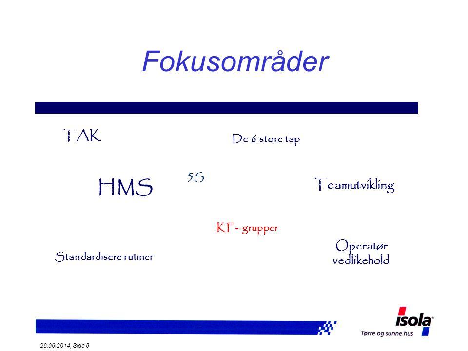 28.06.2014, Side 9 Måltall for Isola T *A * K = TAK