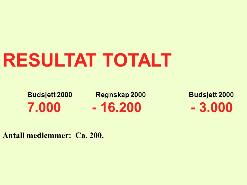 RESULTAT TOTALT Budsjett 2000 Regnskap 2000 Budsjett 2000 7.000 - 16.200 - 3.000 Antall medlemmer: Ca. 200.