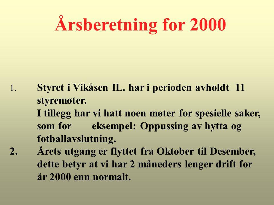 Årsberetning for 2000 1. Styret i Vikåsen IL. har i perioden avholdt 11 styremøter. I tillegg har vi hatt noen møter for spesielle saker, som for ekse