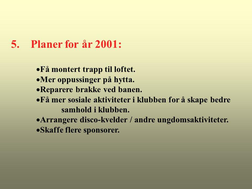 5. Planer for år 2001:  Få montert trapp til loftet.  Mer oppussinger på hytta.  Reparere brakke ved banen.  Få mer sosiale aktiviteter i klubben