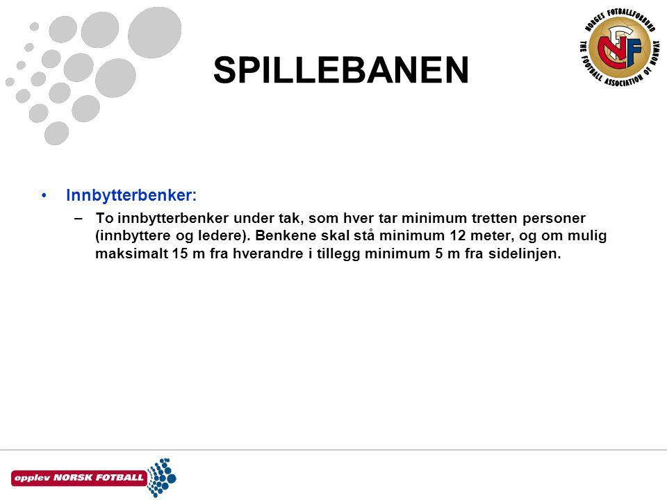 SPILLEBANEN •Innbytterbenker: –To innbytterbenker under tak, som hver tar minimum tretten personer (innbyttere og ledere).