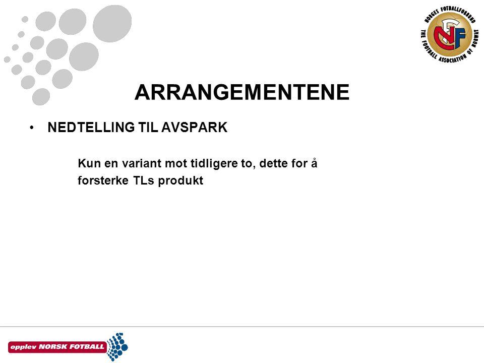 ARRANGEMENTENE •NEDTELLING TIL AVSPARK Kun en variant mot tidligere to, dette for å forsterke TLs produkt