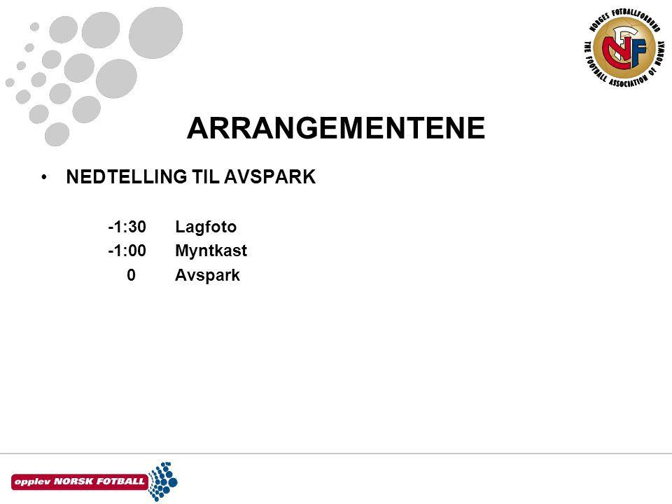 ARRANGEMENTENE •NEDTELLING TIL AVSPARK -1:30Lagfoto -1:00Myntkast 0Avspark