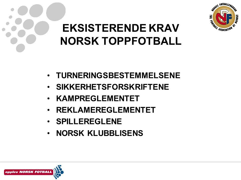 EKSISTERENDE KRAV NORSK TOPPFOTBALL •TURNERINGSBESTEMMELSENE •SIKKERHETSFORSKRIFTENE •KAMPREGLEMENTET •REKLAMEREGLEMENTET •SPILLEREGLENE •NORSK KLUBBLISENS