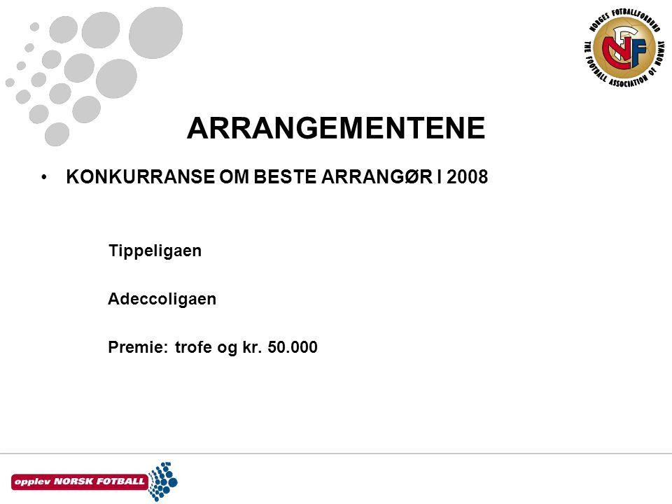ARRANGEMENTENE •KONKURRANSE OM BESTE ARRANGØR I 2008 Tippeligaen Adeccoligaen Premie:trofe og kr.
