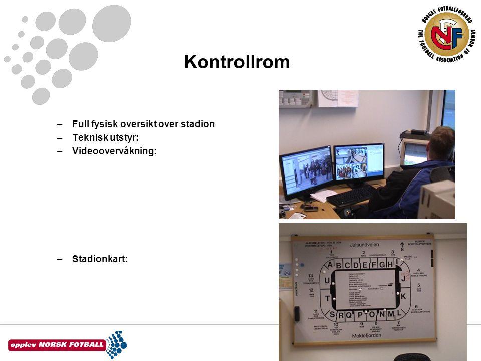 Kontrollrom –Full fysisk oversikt over stadion –Teknisk utstyr: –Videoovervåkning: –Stadionkart: