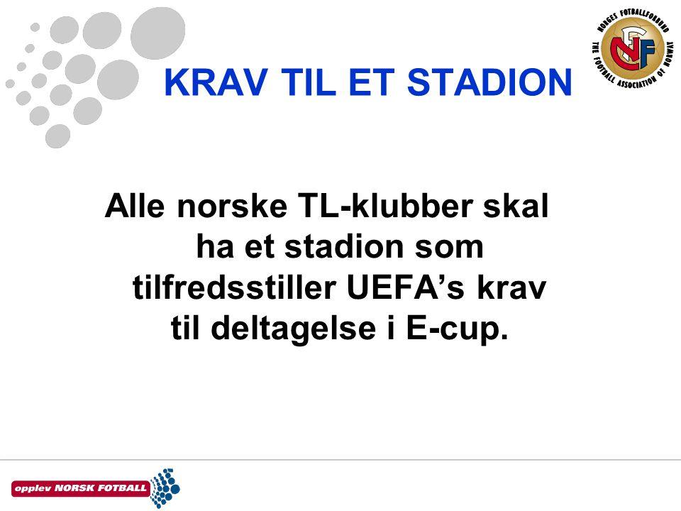 KRAV TIL ET STADION Alle norske TL-klubber skal ha et stadion som tilfredsstiller UEFA's krav til deltagelse i E-cup.