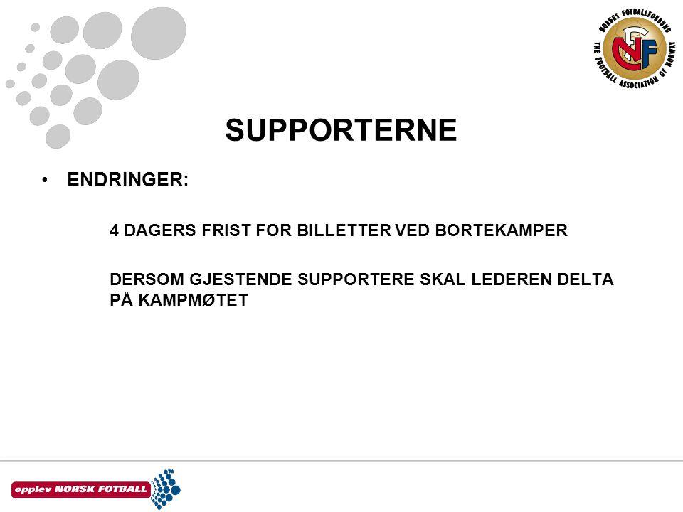 SUPPORTERNE •ENDRINGER: 4 DAGERS FRIST FOR BILLETTER VED BORTEKAMPER DERSOM GJESTENDE SUPPORTERE SKAL LEDEREN DELTA PÅ KAMPMØTET