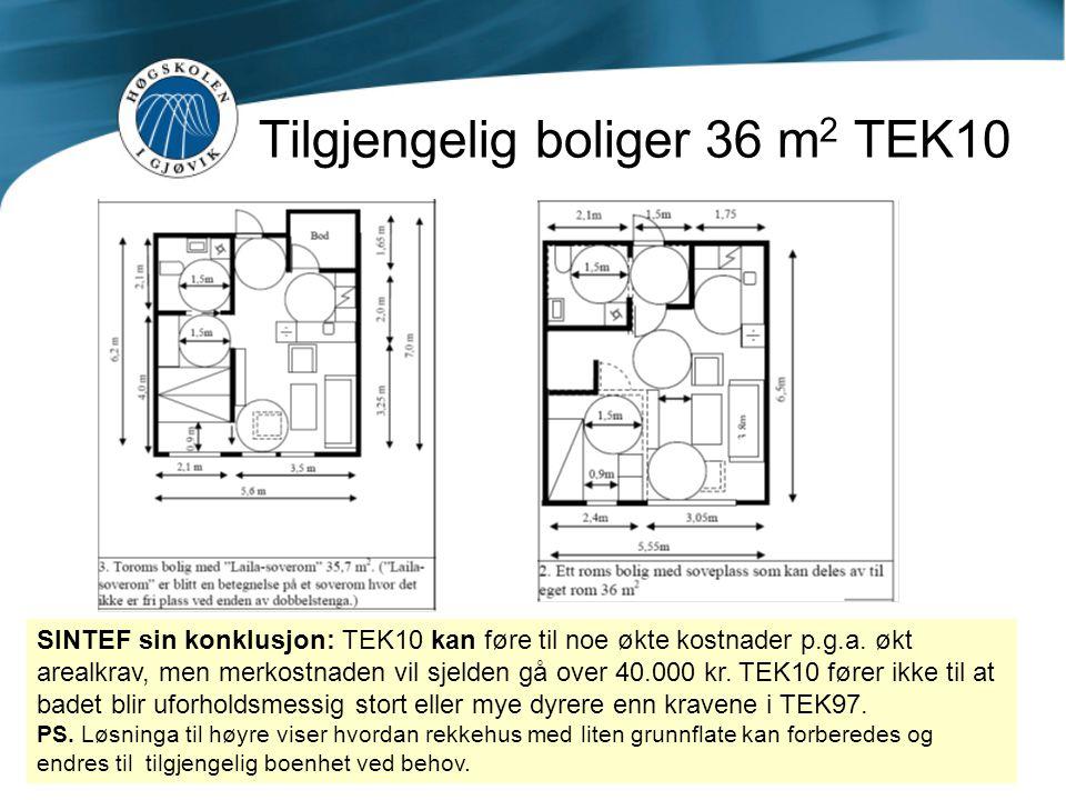 Tilgjengelig boliger 36 m 2 TEK10 SINTEF sin konklusjon: TEK10 kan føre til noe økte kostnader p.g.a. økt arealkrav, men merkostnaden vil sjelden gå o