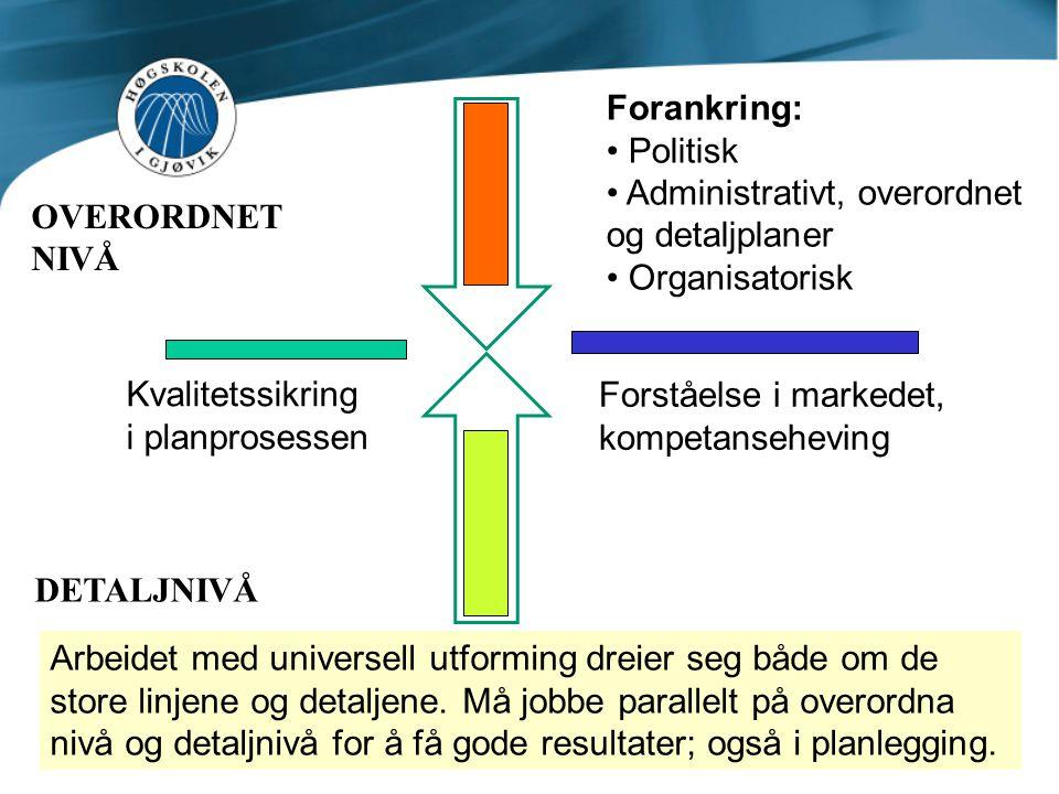 OVERORDNET NIVÅ Forankring: • Politisk • Administrativt, overordnet og detaljplaner • Organisatorisk DETALJNIVÅ Arbeidet med universell utforming drei