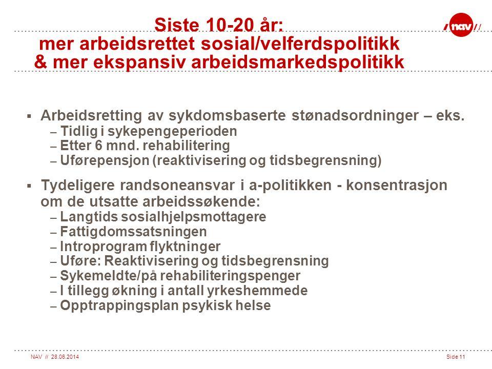NAV // 28.06.2014Side 11 Siste 10-20 år: mer arbeidsrettet sosial/velferdspolitikk & mer ekspansiv arbeidsmarkedspolitikk  Arbeidsretting av sykdomsb