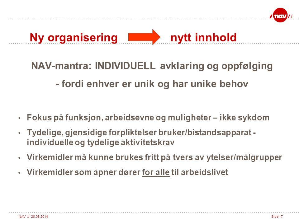 NAV // 28.06.2014Side 17 Ny organisering nytt innhold NAV-mantra: INDIVIDUELL avklaring og oppfølging - fordi enhver er unik og har unike behov • Foku