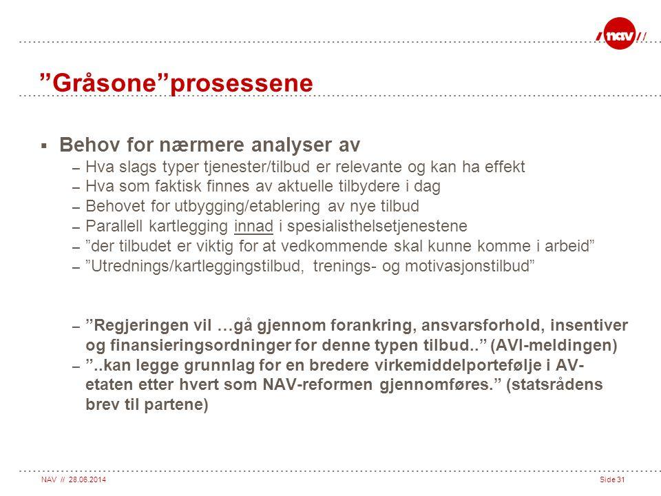 """NAV // 28.06.2014Side 31 """"Gråsone""""prosessene  Behov for nærmere analyser av – Hva slags typer tjenester/tilbud er relevante og kan ha effekt – Hva so"""