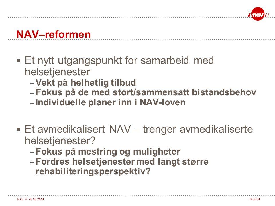 NAV // 28.06.2014Side 34 NAV–reformen  Et nytt utgangspunkt for samarbeid med helsetjenester – Vekt på helhetlig tilbud – Fokus på de med stort/samme